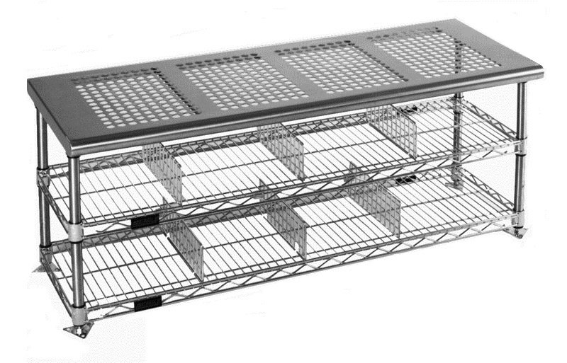 Perforated Seat Top Stainless Steel Gowning Bench