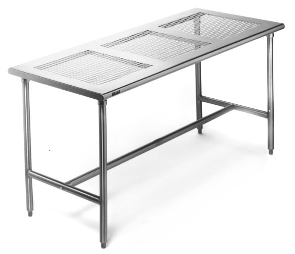 Cleanroom TablesPerforated Top Stainless Steel X Cleatech - 36 x 48 stainless steel table