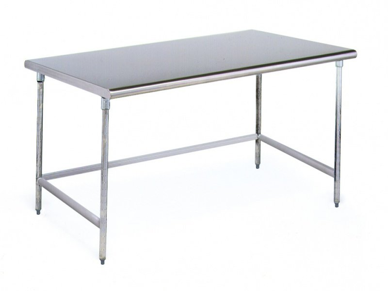 "Cleanroom Table 24"" x 84"" Solid Top Brushed Stainless Steel"